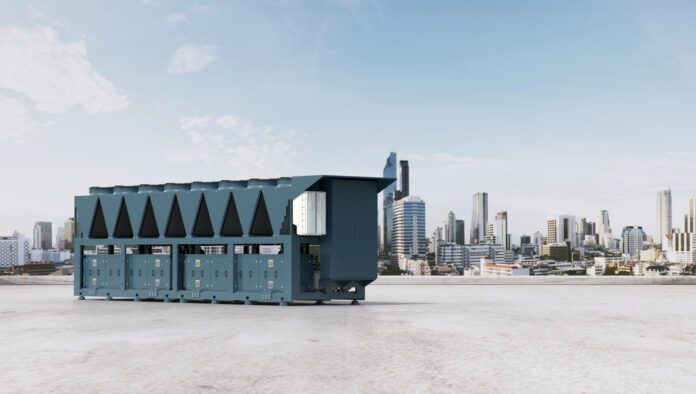 Geoclima proposes a system composed by three 480-kW air-condensed chillers, each equipped with 4 Frascold semi-hermetic screw compressors.